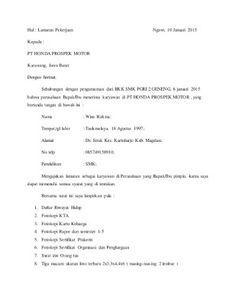 Contoh Surat Lamaran Kerja Di Apotek Contoh Lamaran Kerja Dan Cv