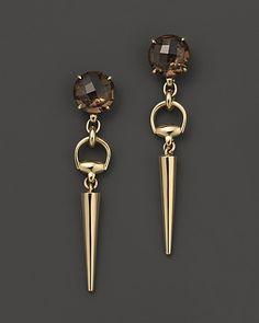 Gucci 18K Yellow Gold Smokey Quartz Horsebit Cocktail Earrings | Bloomingdale's