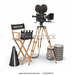 stock photo : Movie composition. Vintage camera, director chair and reels. 3d