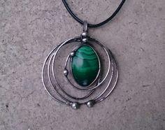 METAL necklace Malachite . Pendant is handmade.Tiffany technique, Healing Stone, jewellery . by Helenamode on Etsy