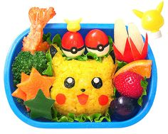 Kawaii Bento Foods   Wow this is some really cute Pokemon Pikachu bento. (pic source )