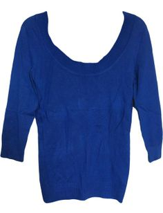 INC International Concepts Women's Blue 3/4 Sleeve Scoop Neck Knit Top (X-Small) at Amazon Women's Clothing store