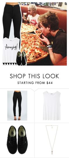"""""""Pizza with my boys"""" by austingraylover ❤ liked on Polyvore featuring Boohoo, T By Alexander Wang, Vans, Amber Sceats, women's clothing, women, female, woman, misses and juniors"""
