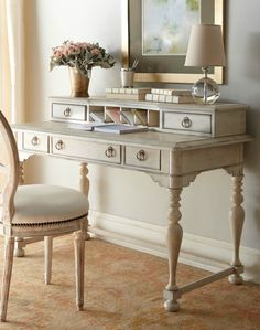 Shop home office furniture at Horchow. Organize your life with these modern desks, shelves and more. Antique White Desk, White Distressed Desk, Desk Styling, Home Desk, New Room, Painted Furniture, Painted Desks, Antique Furniture, Bedroom Decor