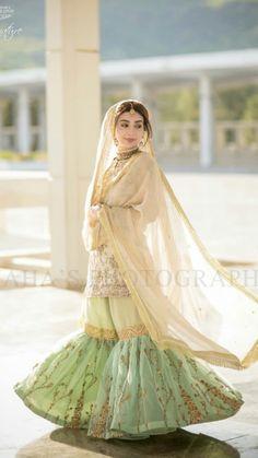 See Photos of Ayesha Khan's Wedding Baraat, Walima Pics - HD Photos Bridal Mehndi Dresses, Nikkah Dress, Shadi Dresses, Bridal Dress Design, Indian Dresses, Dress Lace, Dress Skirt, Pakistani Wedding Outfits, Indian Bridal Outfits