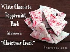 "White chocolate peppermint bark a.a ""Christmas Crack"" (Chocolate Bark Oreo) Christmas Bark, Christmas Chocolate, Christmas Goodies, Christmas Desserts, Holiday Treats, Christmas Treats, Christmas Stuff, Holiday Fun, Merry Christmas"