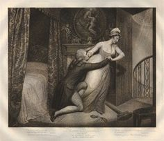 Plate the 6th; a servant girl struggling to escape the embrace of her master who kneels at left, having interrupted her from her sweeping in his bedroom; a rejected purse spilling coins in the foreground beside her fallen broom, in the background a painting of a nymph struggling against Father Time, 1797