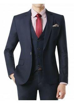Doublju Men's 1 Button Suit Blazer Jacket Matte Dark Navy (KMOBL08). #suits #mensuit #mencloth #menclothing #doublju
