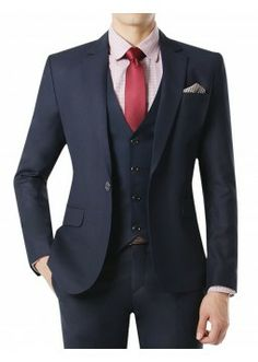 Doublju Men's 1 Button Suit Blazer Jacket Matte Dark Navy (KMOBL08). #suits #mensuit #mencloth #menclothing #doublju