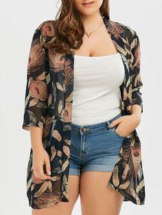 Plus Size Feather Print Collarless Chiffon Kimono Mobile Curvy Outfits, Stylish Outfits, Fashion Outfits, Cheap Fashion, Style Fashion, Womens Fashion, Looks Plus Size, Look Plus, Chiffon Kimono
