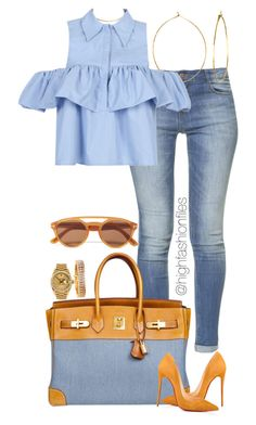 """""""Untitled #2734"""" by highfashionfiles on Polyvore featuring Wet Seal, Zara, Phyllis + Rosie, WithChic, Hermès, Christian Louboutin, Rolex, Jose Hess and Tom Ford"""