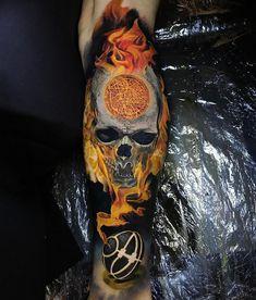 Skull tattoo by Steve Butcher, New Zealand