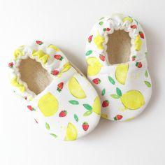 Lemon and Strawberries Sahnda Marie Kids handmade soft sole baby shoes 100% organic lined.