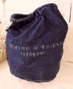 US Military Denim Selvedge 40s 50s Laundry Ditty Barracks Sack Bag Cinch