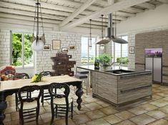 les plus belles cuisines rustiques, ilot centrale moderne