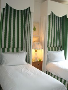 Nicky Haslam twin beds...I've got the cornice boards, would be a great way to tie the room together & give a bit of privacy.
