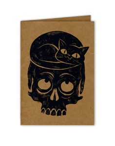 Cat and Skull Linocut Greeting Card by PaperWaspNest on Etsy, $3.00