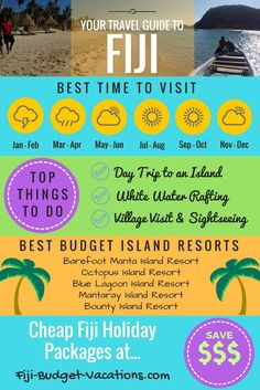 Your Travel Guide to Fiji. Best time to visit - Top Things to do - Best Budget Island Resorts and Cheap Holiday Packages to Fiji and SAVE.