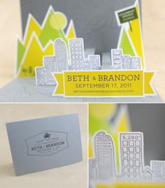 Beth and Brandon - Pop up wedding save the date by Paper Guppy