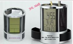 Jual Jam Meja promosi - Pen Holder & Desk Clock JHL 2668