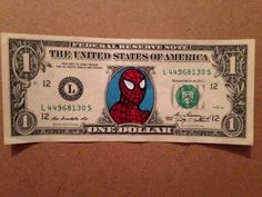 Bank Note Art Hobo Nickel Artist Dollar Bill Money Art Spiderman Painted Ooak