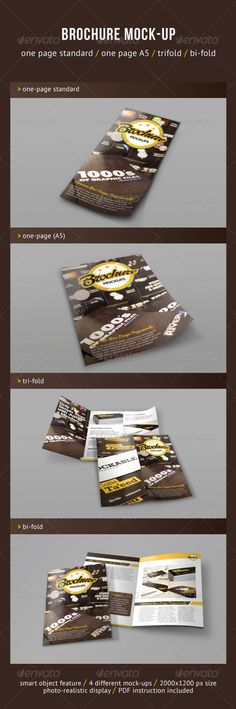Buy Brochure Mock-ups by CodeID on GraphicRiver. This item consist of 4 different brochure mock-ups with various sizes. There is 4 layered PSD files for each mock-ups. Bi Fold Brochure, Business Brochure, Business Card Logo, Indesign Templates, Brochure Template, Flyer Template, Banner Design, Flyer Design, Corporate Design