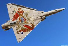 """jets-break-the-soundbarrier: """" colonel-kurtz-official: """"Greek Mirage jet showing off a special paint job. Military Jets, Military Aircraft, Air Fighter, Fighter Jets, Photo Avion, Hellenic Air Force, Dassault Aviation, Aircraft Painting, Aircraft Pictures"""