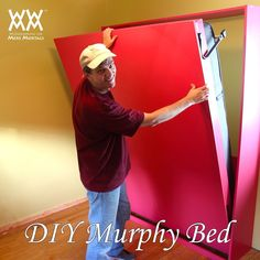 DIY Murphy Bed. Video, plans and hardware info. Woodworking for Mere Mortals. #woodworkingforkids