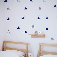 Triangle Wall Decals, Vinyl Wall Decor, Geometric Wall Decals, Nursery Wall Stickers, Baby Room Decor, Cute Geometric Vinyls, Gift - Storm grey / 48 Decal stickers