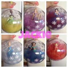 Disney princess ornaments--still in the process of finishing the other 5 but don't have much time no more :( but I love how the first six came out! Ornament Crafts, Christmas Projects, Christmas Tree Ornaments, Christmas Holidays, Christmas Crafts, Disney Diy, Disney Christmas Decorations, Diy Weihnachten, Mickey Mouse