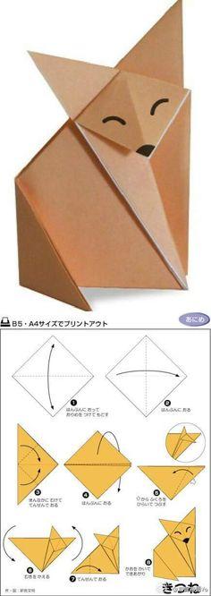 ◇ Renard origami mignon et facile. Les instructions ne sont pas en anglais, mais les diagrammes … – Origami Community : Explore the best and the most trending origami Ideas and easy origami Tutorial Origami And Kirigami, Origami Tutorial, Origami Easy, Origami Paper, Diy Paper, Paper Art, Paper Crafts, Origami Instructions, Easy Origami Animals