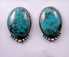 Kirk Smith Navajo Turquoise Sterling Silver Earrings