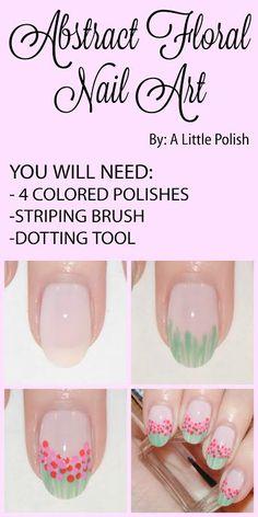 Easy floral nail art tutorial via @agirlsgottaspa from @oblassa #nailart #tutorial #nails #floral