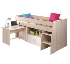 manis h hochbett halbhohes bett ragna mit schreibtisch 90x200cm h he 121cm weiss ohne. Black Bedroom Furniture Sets. Home Design Ideas