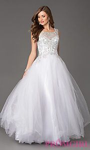 Buy Embellished Open Back Tulle Ball Gown at PromGirl