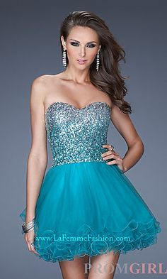 Short Strapless Tulle Babydoll Dress at PromGirl.com