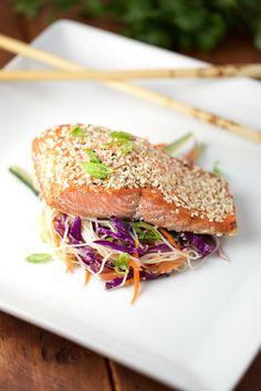 Honey Lime Glazed Salmon with Sesame Rice Noodle Salad