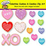 Valentine Cookies and Candy Hearts Clip Art