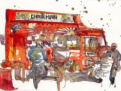 Great watercolor of food truck in San Jose.