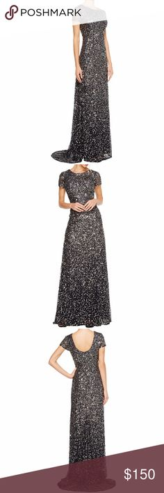 NWT ADRIANA PAPELL STUNNING SEQUIN CHARCOAL GOWN 4 THIS DRESS IS STUNNING!! BRAND NEW WITH TAGS - RETAIL: $278 / CURRENT RETAIL: $195 - It is charcoal on label but appears very dark gray or black. Be the belle of the ball in this striking Adrianna Papell® gown. Intricate beading decorates this gorgeous floor-length gown. Round neck and cap-sleeve construction. Semifitted silhouette. Scoop back. Zip closure at back. Elegant train for a sophisticated look. Fully lined. 100% polyester; Lining…