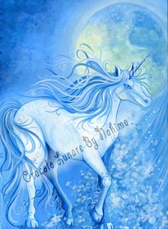 Unicorn  Water  Moon  Print from Original Painting by NahimaArt