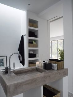 Concrete bathroom design interior design decorating before and after decorating design Bathroom Renos, Laundry In Bathroom, Bathroom Interior, Modern Bathroom, Design Bathroom, Small Bathroom, Bathroom Ideas, Concrete Sink, Concrete Bathroom