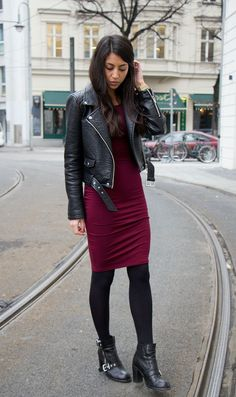 holiday dress ideas, what to wear to a christmas party, forever 21 red dress… Burgundy Leather Jacket, Leather Jacket Dress, Burgundy Dress, Fashionista Trends, Berlin Mode, Stylish Outfits, Fashion Outfits, Women's Fashion, Berlin Fashion