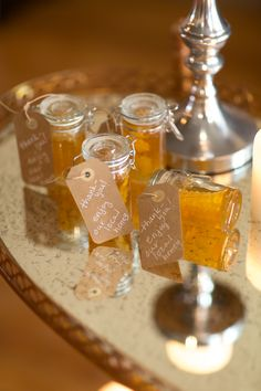 Honey wedding favors | Photo by Heather Cook Elliott Photography | Read more - http://www.100layercake.com/blog/?p=76584
