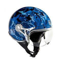 Motorcycle helmet Camo blue design Freeway by Exklusiv designed in France 89f4b3c50f4d