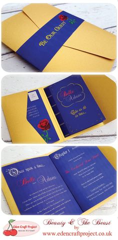 The Disney Inspired Beauty and the Beast Pocketfold Wedding Invitation with the unique inner booklet design (in the style of a book) and pull out RSVP Card. Perfect for bookworms, Rose, romantic, disney, fairytale theme weddings.