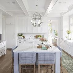 Blue Plaid Counter Stools with Periwinkle Blue Island