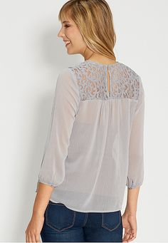 blouse with lace and embroidered yoke - maurices.com
