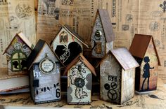 Birdhouses decorated with scrapbook paper and given a great vintage style look.