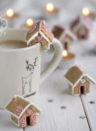 bite-sized gingerbread houses - cute for Hansel & Gretel tea party